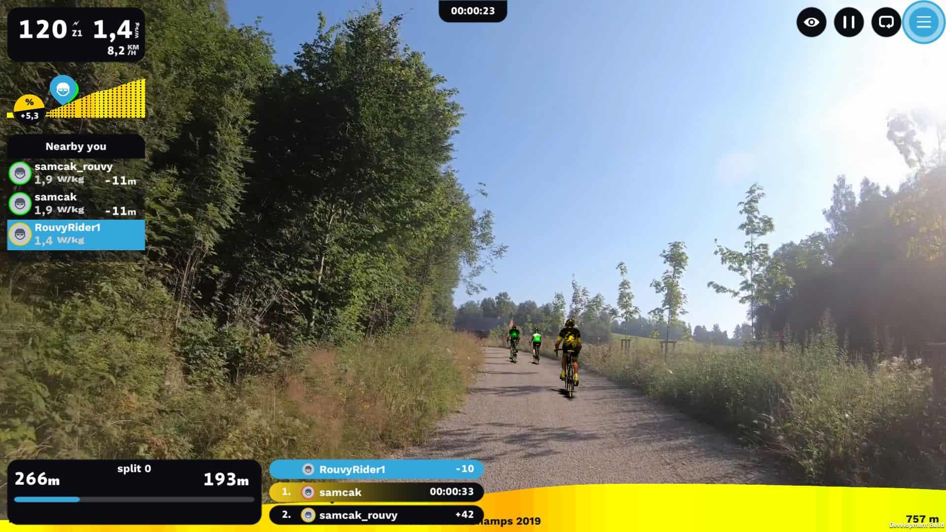 Screenshot der virtuellen Cycling-Plattform Rouvy