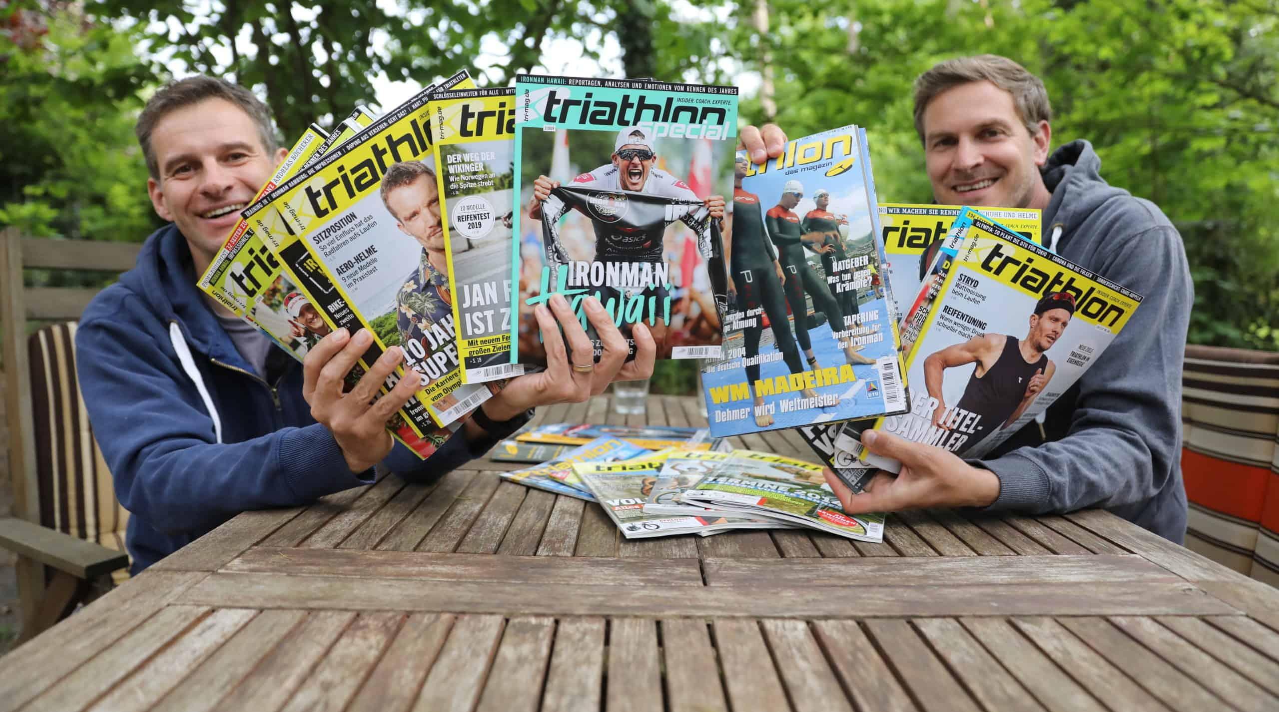 Frank Wechsel und Nils Flieshardt zeigen alle Frodeno-Cover